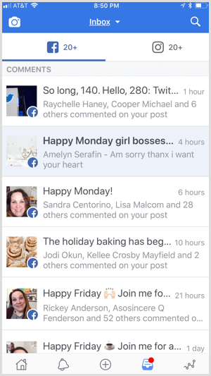 Facebook Creator app unified inbox