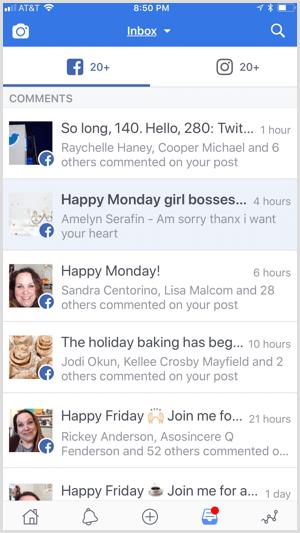 Facebook Creator app unified inbox