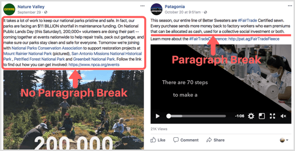 Facebook post with paragraph breaks