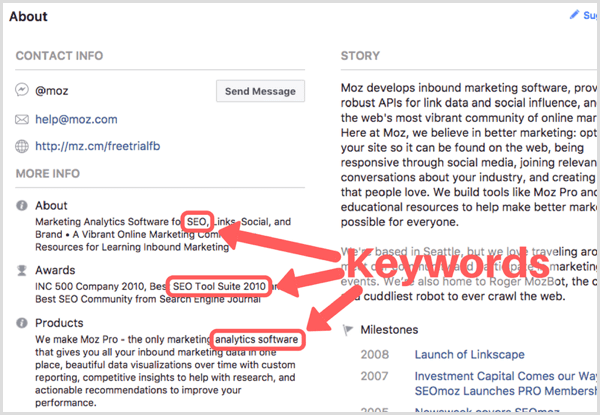 Facebook profile with keywords