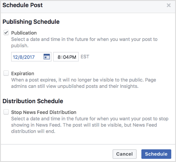 Facebook upload video schedule post
