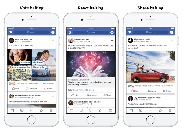 Facebook will demote posts that use engagement bait to boost engagement to get greater reach.