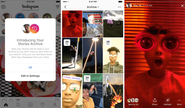 Instagram's new Stories Archive automatically saves expired Stories to a private part of a profile.