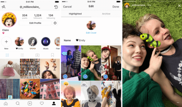 Instagram Stories Highlights allows users to select and group past stories into named collections.