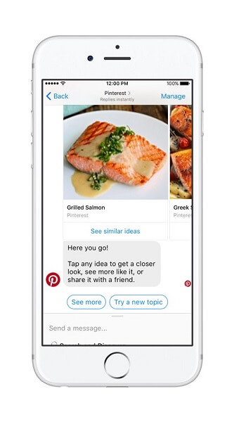 The Pinterest bot brings the power of Pinterest Search and recommendations to Messenger.