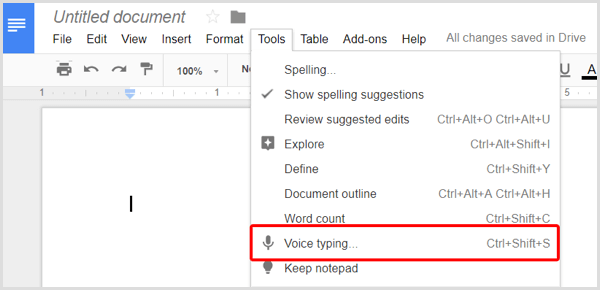 Google Docs Voice Typing option