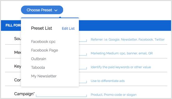 Google URL Builder Chrome extension presets