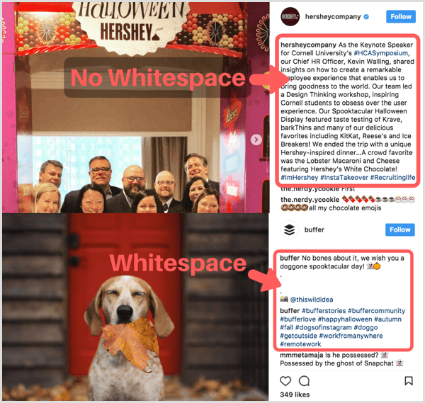 Instagram caption white space usage