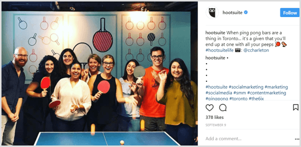 Instagram post company culture example