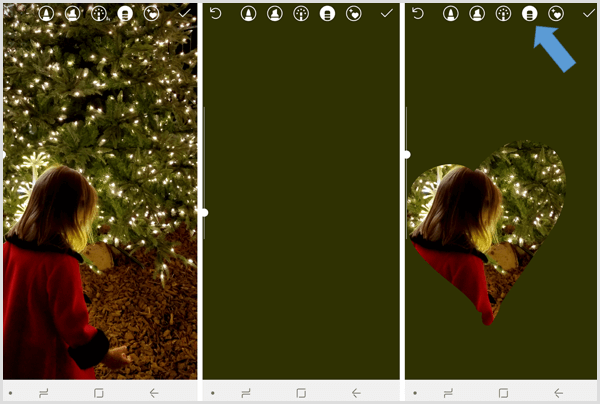 Instagram stories use erase to reveal part of background image