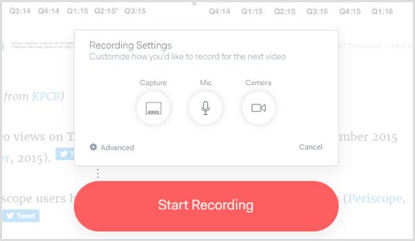 Loom app recording settings