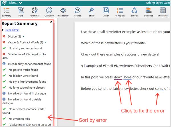 ProWritingAid combo check report