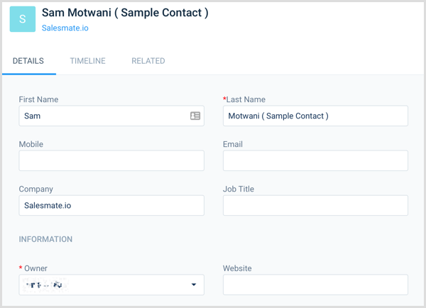 Salesmate contact card