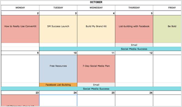 social media calendar color coding