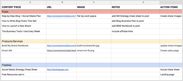 social media content planning spreadsheet