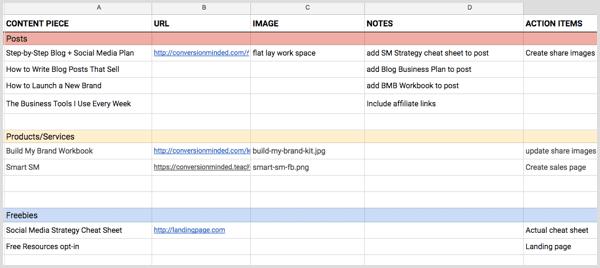 social media content planning spreadsheet