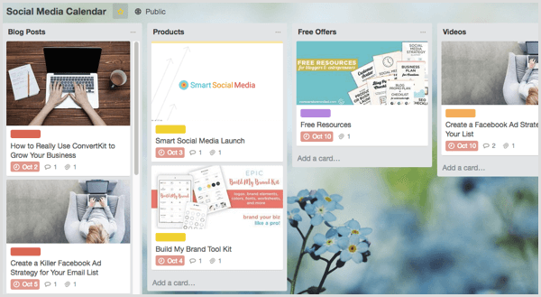 Trello manage social media content creation