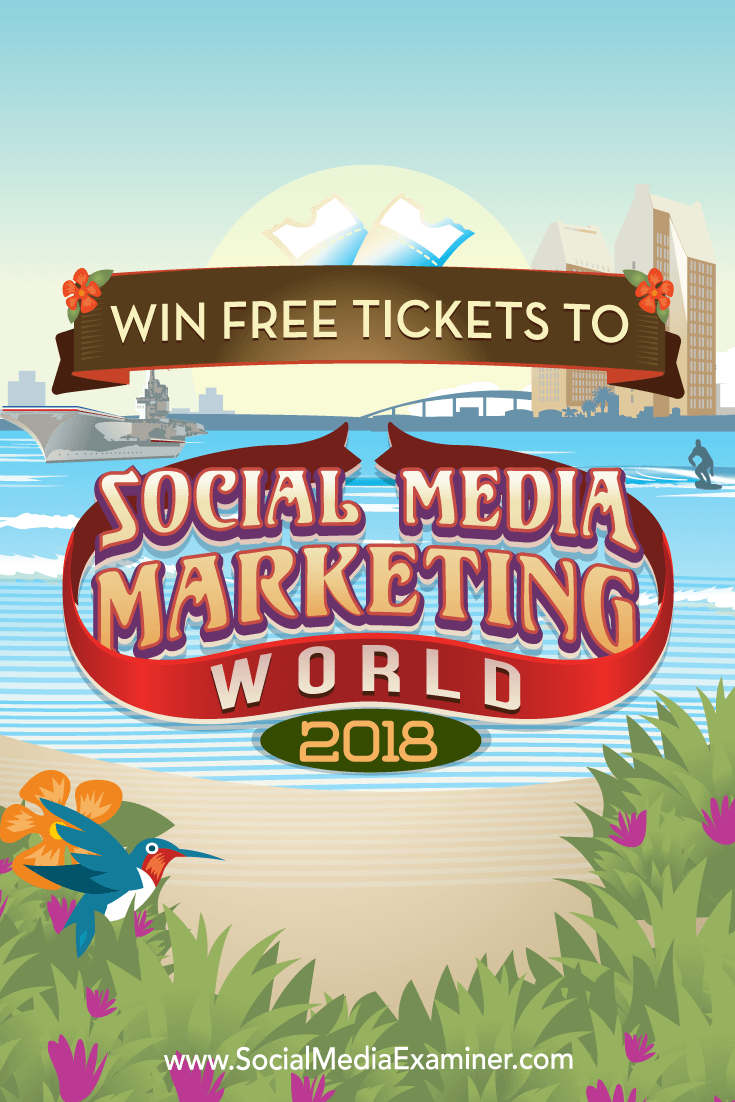 The grand prize winner will be awarded a free all-access ticket to Social Media Marketing World 2018, two free nights at the Manchester Grand Hyatt.