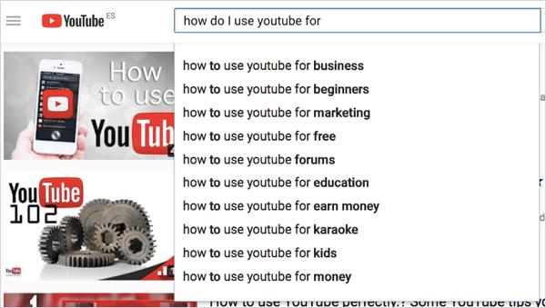 Términos de búsqueda de youtube
