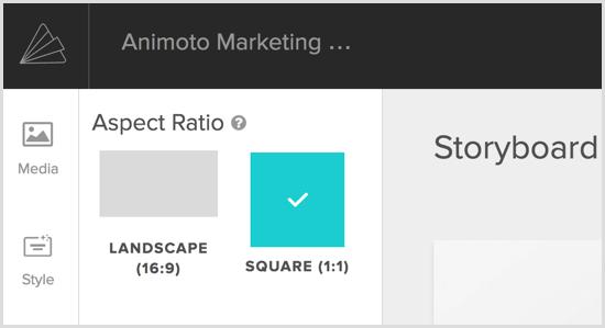 Animoto video choose aspect ratio