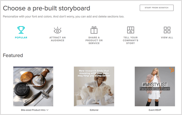 Animoto video choose storyboard template