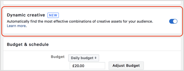 Facebook dynamic creative feature