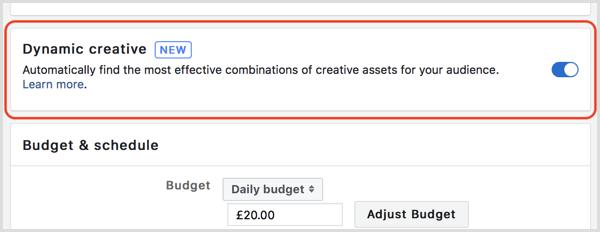 Facebook dynamic creative feature