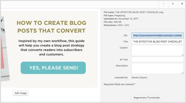 CTA button URL in WordPress Media Library