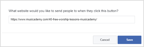 Facebook add CTA button to page