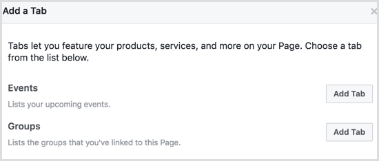 Facebook add Groups tab