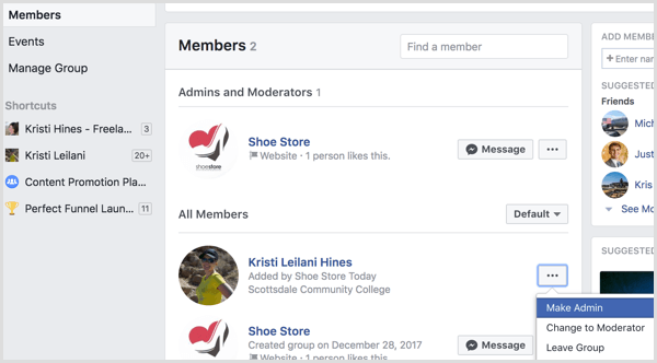 Facebook add profile to group as admin