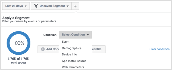 Facebook Analytics create new segment