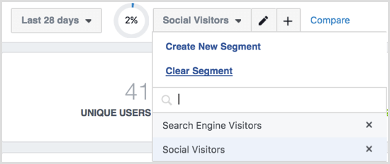 Facebook Analytics segments menu options