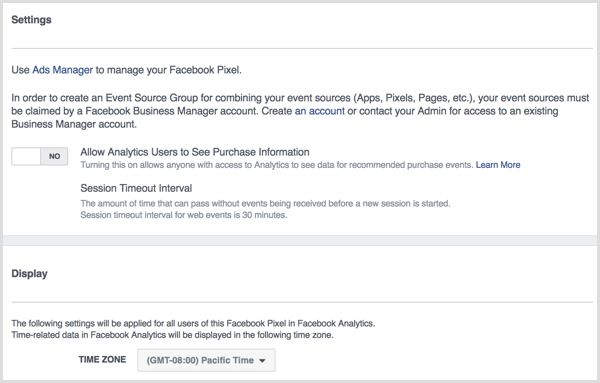 Facebook Analytics Settings
