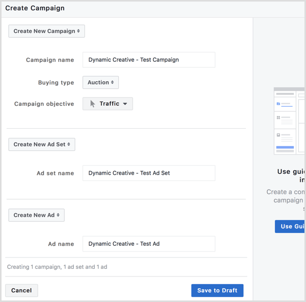 Facebook create ads dynamic creative