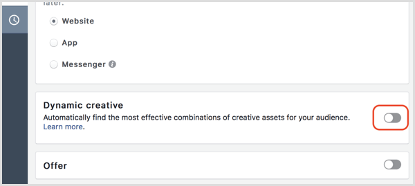 Facebook create ads dynamic creative
