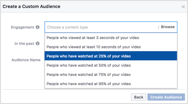 Facebook custom audience based on video views