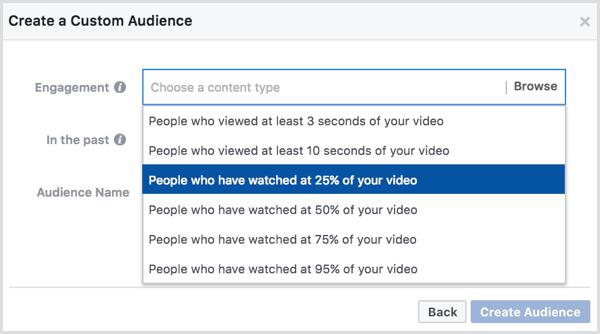 Facebook custom audience based on video views