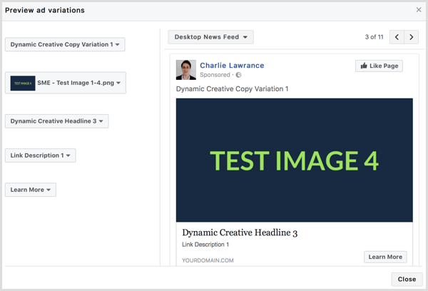 Facebook dynamic creative ad preview
