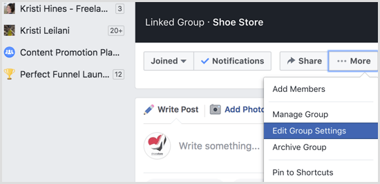 Facebook group edit settings
