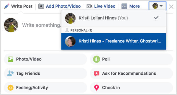 Facebook group post as page or profile