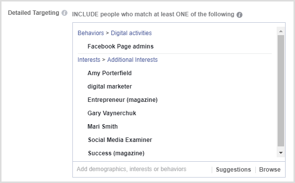 Facebook lead ad detailed targeting