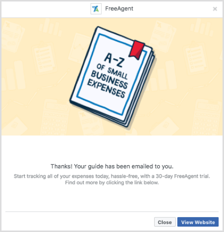 Facebook lead ad form confirmation example