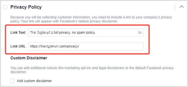 Facebook lead ad privacy policy