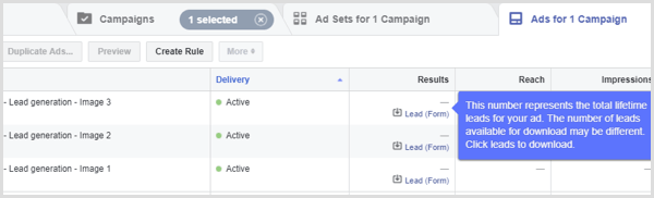 Facebook lead ad results
