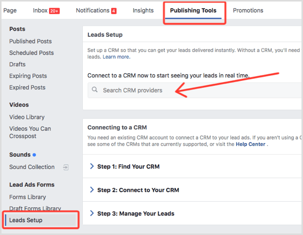 Facebook lead ads setup CRM