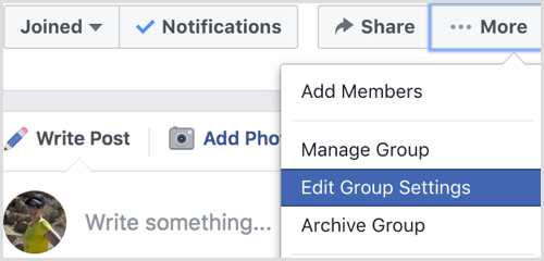 Facebook page link to group