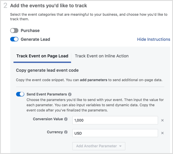 Facebook pixel installation add events
