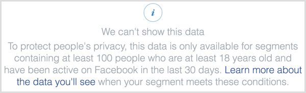 Facebook pixel we can't show this data message