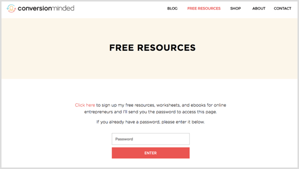 free resources page password protect